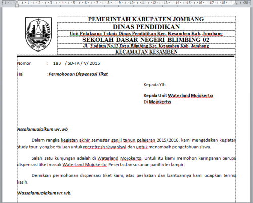 Format Surat Dispensasi Altin Northeastfitness Co